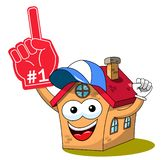 House home cartoon funny character fan supporter number one glove isolated. On white royalty free illustration