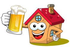 House or home cartoon funny mascot drinking mug beer isolated. On white stock illustration