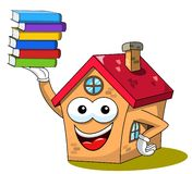 House or home cartoon funny mascot holding pile of books isolated. On white vector illustration