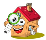 House or home cartoon funny mascot looking glass or magnifying isolated. On white royalty free illustration