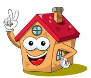 House or home cartoon funny mascot win or victory gesture isolated. On white royalty free illustration