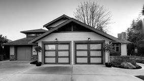 House Home Exterior Black And White. Custom residential home exterior in black and white Royalty Free Stock Images