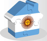 House home icon with Argentinian flag in puzzle Royalty Free Stock Photo