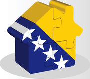 House home icon with Bosnia Herzegovinan flag in puzzle Stock Photos
