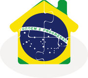 House home icon with Brazil flag in puzzle Royalty Free Stock Photography