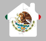 House home icon with Mexico flag in puzzle Royalty Free Stock Images