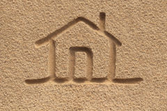 House(home) Icon Or Sign Drawing In Beach Sand - Concept Photo Royalty Free Stock Photos