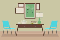 House home interior design. chair, table, lamp, Isolated vector objects. Scene creator set. vector illustration