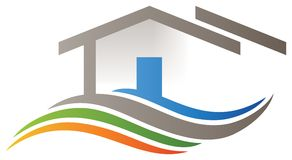 House home logo. A house home bright logo with door roof and wavy lines