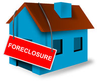 House and home mortgage sign. Illustration of House mortgage with sign  showing it has been foreclosed, bank owned or for sale and isolated on white background Stock Images