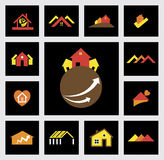 House, home, real estate & construction industry vector icons Royalty Free Stock Photography