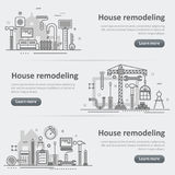 House and home remodel repair service process banner set Stock Image