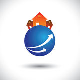 House (home) or residence icon on a planet Royalty Free Stock Image