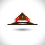 House (home) & residences on hill icon for real estate market Stock Image