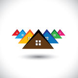 House (home), residential locality of a town or city. This graphic illustration is also a icon for buying & selling residential property, office, etc royalty free illustration