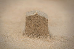 House(home) structure made in beach sand - concept photo. Stock Image
