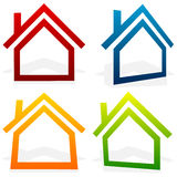 House home, suburban, residential building, real estate icons Stock Image