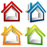 House home, suburban, residential building, real estate icons Royalty Free Stock Photo