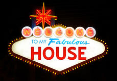 House, home. Home welcome sign on poster of Las Vegas Stock Images