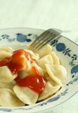 House hot pelmenis with tomato sauce. Stock Image