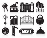 House and hotel icons. House and hotel symbols. Black icons on white background Stock Photography