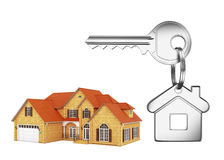 House and house key. On white background Royalty Free Stock Images