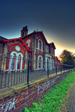 A house in Hull, UK. Unidentified house in Hull, UK, shot from an alley with sunset in background royalty free stock photo