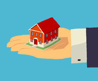 House in human hand. Realty, insurance, home. Stock Photo