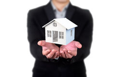 House in human hands, Businessman Royalty Free Stock Images
