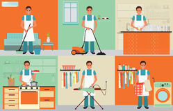 House husband cleaning. Stock Photos