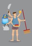 House Husband Multitasking Vector Cartoon Illustration vector illustration