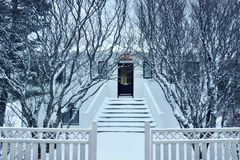 A house in Iceland. Captured in winter - February. Location: Europe, Iceland stock photography