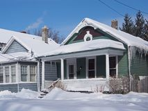 House with icicles Royalty Free Stock Photos