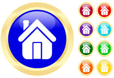 House icon. On shiny buttons