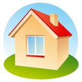 House icon. Vector icon of house on lawn Royalty Free Stock Photography