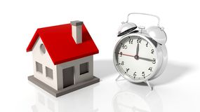House icon with alarm clock. Isolated on white background Royalty Free Stock Photos