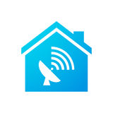 House icon with an antenna. Illustration of an isolated house icon with a an antenna Royalty Free Stock Photo