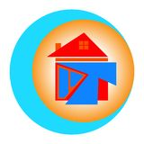 house icon with arrows as symbols on the way towards success. with white background stock image