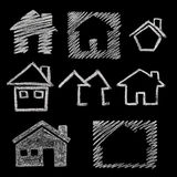 House icon on blackboard. House icon variations, hand drawn on blackboard Royalty Free Stock Photography