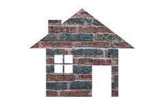 House icon from brick texture background as symbol of mortgage Stock Photo
