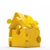 A house icon build out of golden Stock Photos