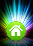 House Icon Button on Abstract Spectrum Background Royalty Free Stock Image