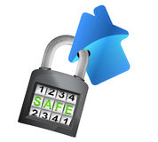 House icon caught in security closed padlock isolated vector Stock Photography