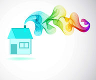 House icon and Color abstract wave Royalty Free Stock Images