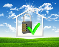 House icon and combination lock Royalty Free Stock Images