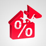 House icon, combined from puzzles. House icon combined from red puzzles with white percent sign, on light background. Advantageous house building concept Stock Photography
