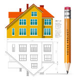House icon and drawing with a pencil. Vector infographics for real estate and construction Royalty Free Stock Photo