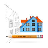 House icon and drawing with a pencil. Vector infographics for real estate and construction Stock Photo