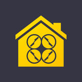 House icon with a drone Stock Photo