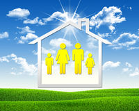 House icon with family symbol Stock Photo